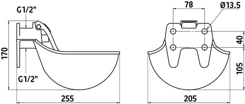 Поилка чугунная эмалированная Kerbl (Германия) - картинка 2